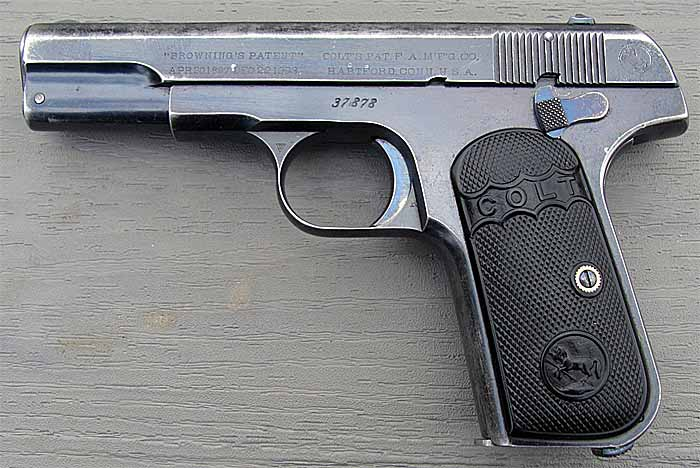 Пистолет Colt M1903 Hammerless Pocket, вид слева